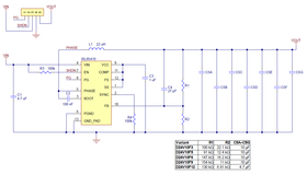 Schematic diagram for the Pololu D24V10Fx family of 1 A step-down voltage regulators.