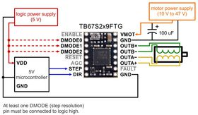 Minimal Wiring for TB67S279FTG Stepper Driver