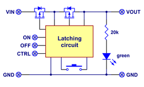 Block diagram of the Big Pushbutton Power Switch with Reverse Voltage Protection