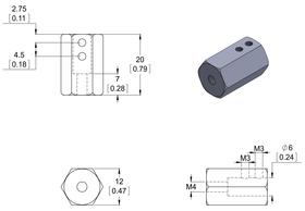 Pololu 12mm hex adapter dimensions