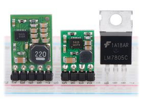 Pololu step-down voltage regulators D24V10Fx and D24V5Fx next to a 7805 voltage regulator in TO-220 package.
