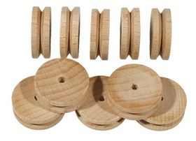 30mm Wooden Pulley Pack of 10