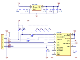 Schematic of the L3GD20H 3-axis gyro carrier with voltage regulator