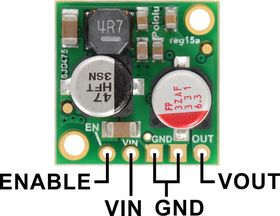 Pololu 2.5A Step-Down Voltage Regulator D24V25Fx, top view with labeled pinout.