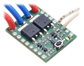 Big Pushbutton Power Switch with Reverse Voltage Protection, assembled with wires soldered directly to the board