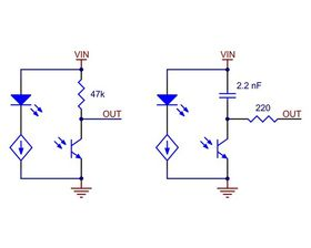 Schematic diagrams of individual QTR sensor channels for A version (left) and RC version (right). This applies only to the newer QTRs with dimmable emitters.