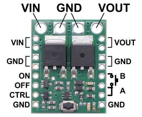 Pinout diagram of the Big Pushbutton Power Switch with Reverse Voltage Protection