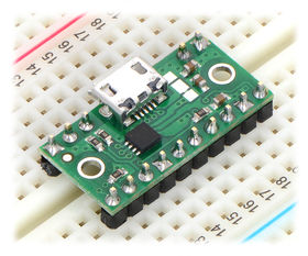 TPS2113A power multiplexer carrier with USB Micro-B connector in a breadboard