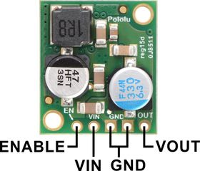 Pololu 5A Step-Down Voltage Regulator D24V50Fx, top view with labeled pinout.