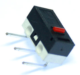 Subminiature microswitch with button actuator, right angle PCB mounting