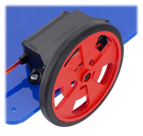 Servo with bracket on a robot chassis with wheel.